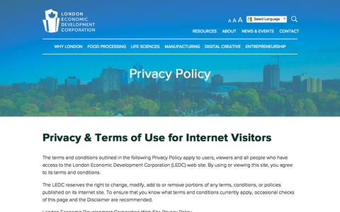 Screenshot of Privacy Page ledc.com - Privacy Policy | London Economic Development Corporation - captured Oct. 31, 2014
