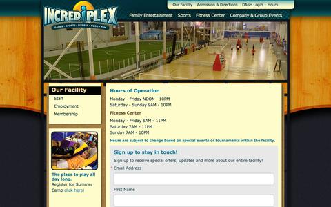 Screenshot of Hours Page incrediplex.com - Our Facility | Incrediplex | Indoor Soccer | Indoor Volleyball | Sports Themed Birthday Parties | Indoor Basketball Courts | Fitness Center | Indianapolis, IN - captured Aug. 5, 2016