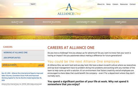 Screenshot of Jobs Page aointl.com - Alliance One International :: Careers - captured Jan. 27, 2017