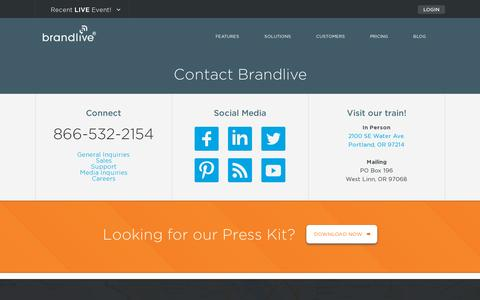 Screenshot of Contact Page yourbrandlive.com - Contact - captured July 20, 2014