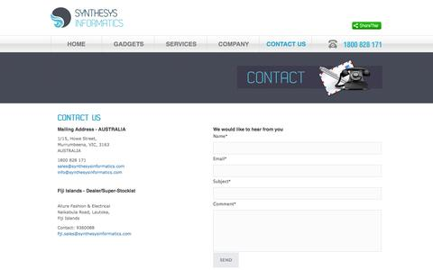 Screenshot of Contact Page synthesysinformatics.com - :: Synthesys Informatics - Contact :: - captured Oct. 7, 2014