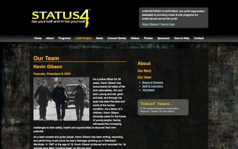 Screenshot of Team Page status4.ca - Our Team - Status 4 - Be yourself and Free yourself - captured Sept. 17, 2014