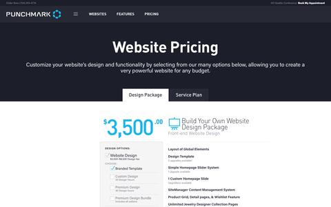 Screenshot of Pricing Page punchmark.com - Jewelry Website Design Packages: Websites for Jewelers & Vendors - captured Sept. 5, 2017