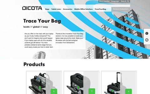 Screenshot of Products Page dicota.com - Products - captured Jan. 7, 2016