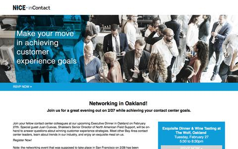 Screenshot of Landing Page niceincontact.com - NICE inContact Networking Event | Bay Area | February 2018 - captured April 1, 2018