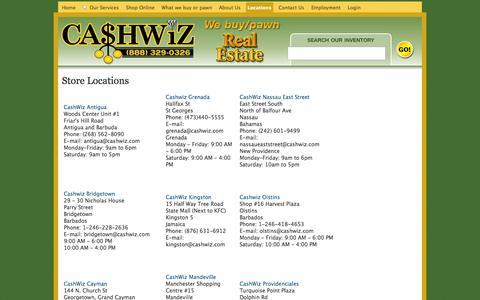 Screenshot of Locations Page cashwiz.com - Store Locations | CashWiz - captured Oct. 2, 2014
