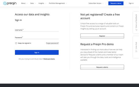 Screenshot of Login Page preqin.com - Preqin - Login - captured Jan. 26, 2019