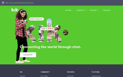 Screenshot of Home Page kik.com - Home - captured Aug. 19, 2017