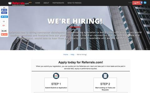 Screenshot of Developers Page referrals.com - Developers - Referrals.com - captured Dec. 14, 2016