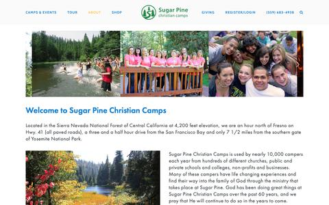 Screenshot of About Page sugarpine.org - Sugar Pine Christian Camps - captured April 13, 2019