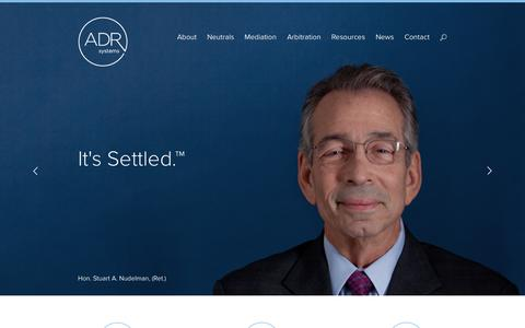 Screenshot of Home Page adrsystems.com - Chicago Mediation and Arbitration Services | ADR Systems - captured Sept. 30, 2014