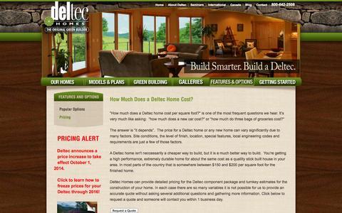 Screenshot of Pricing Page deltechomes.com - Deltec Pricing | Prefab Round Homes | Panelized Building System | Home Kit |  Deltec Homes - captured Sept. 19, 2014