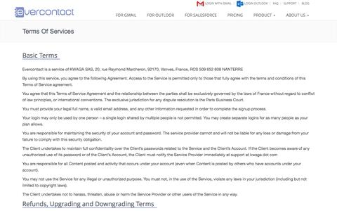 Screenshot of Terms Page evercontact.com - Terms of Service - Evercontact - captured Sept. 16, 2014