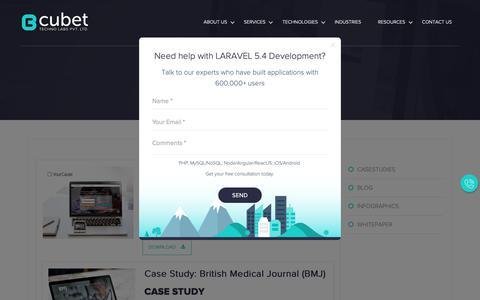 Screenshot of Case Studies Page cubettech.com - Case Studies - Cubet Techno Labs - captured Sept. 29, 2018