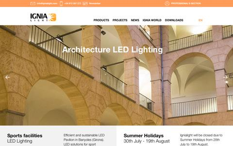 Screenshot of Home Page ignialight.com - Ignialight- Manufacturers of luminaires with LED technology - captured Sept. 12, 2018