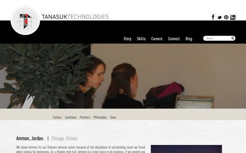 Screenshot of Locations Page tanasuk.com - Tanasuk Technologies - Sitecore offices based in Chicago and Amman, Jordan. - captured Nov. 29, 2016