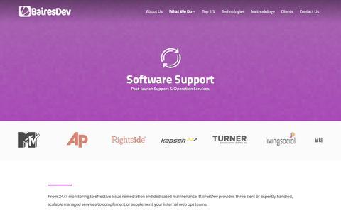 Screenshot of Support Page bairesdev.com - Software Support | BairesDev - captured July 28, 2016