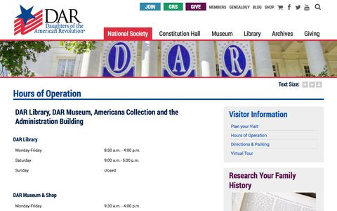 Screenshot of Hours Page dar.org - Hours of Operation   Daughters of the American Revolution - captured Oct. 26, 2014