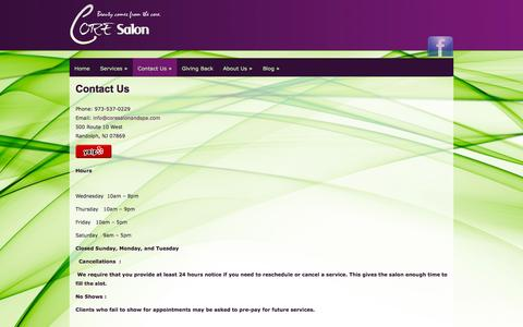 Screenshot of Contact Page coresalonandspa.com - Contact Us - Core Salon - captured Oct. 3, 2014