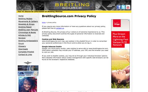 Screenshot of Privacy Page breitlingsource.com - Privacy Policy - captured Sept. 23, 2014