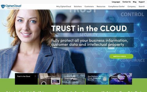 Screenshot of Home Page ciphercloud.com - CipherCloud: Enterprise Cloud Security - captured Oct. 1, 2015