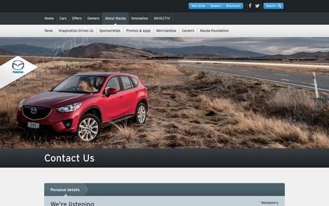 Screenshot of Contact Page mazda.com.au - Mazda Australia – Contact Us Page - captured Oct. 27, 2014