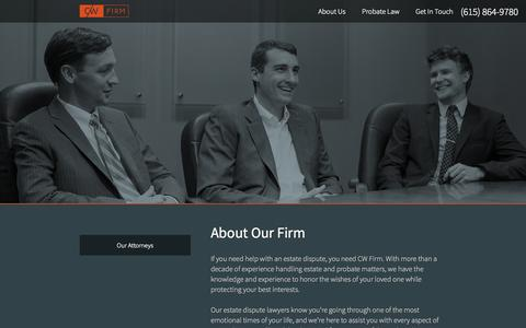 Screenshot of About Page cwfirm.com - About the CW Firm   Estate and Probate Dispute   Nashville Tennessee - captured Oct. 1, 2014