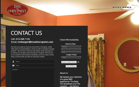Screenshot of Contact Page innathornpoint.com - Contact Us  |  Inn at Horn Point | Annapolis Bed and Breakfast – Downtown, Naval Academy, Sailing School - captured Jan. 8, 2016