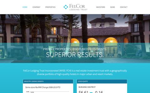 Screenshot of Home Page felcor.com - Real Estate Investment Trust Company | Felcor Lodging Trust - captured Feb. 9, 2016