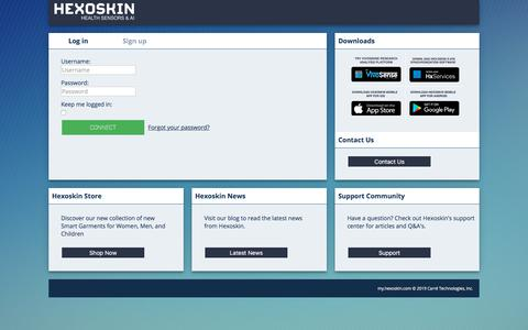 Screenshot of Login Page hexoskin.com captured Sept. 27, 2019