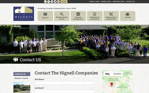 Screenshot of Contact Page hignell.com - Contact The Hignell Companies Property Management Team - captured Oct. 14, 2018