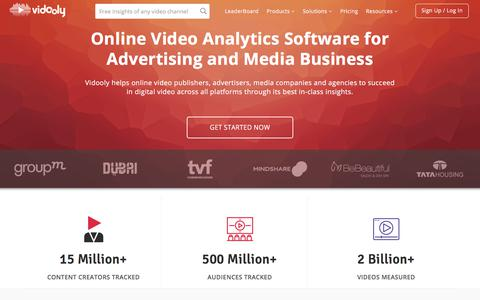 Screenshot of Home Page vidooly.com - Online Video Analytics & Marketing Software | Vidooly - captured June 26, 2018