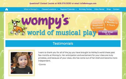 Screenshot of Testimonials Page wompys.com - Testimonials - Wompy's World of Musical Play - captured Dec. 3, 2016