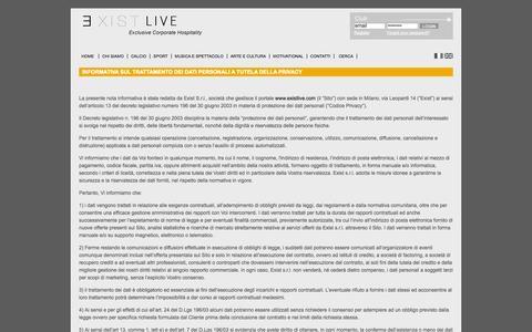 Screenshot of Privacy Page existlive.com - INFORMATIVA SUL TRATTAMENTO DEI DATI PERSONALI A TUTELA DELLA PRIVACY - captured Oct. 3, 2014