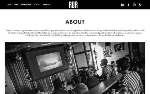 Screenshot of About Page rur.cz - RUR postproduction - ABOUT - captured Sept. 20, 2018