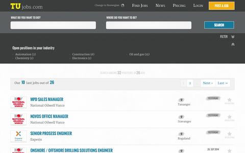 Screenshot of Home Page tujobs.com - Find a Job in the Oil, Gas and Subsea industry - Find Offshore or Oilfield jobs at Tujobs - captured Sept. 30, 2014