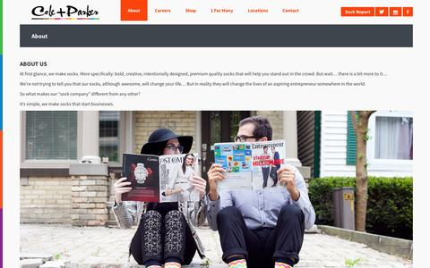 Screenshot of About Page coleandparker.co - Cole And Parker - Bold socks that start businesses - About - captured Sept. 30, 2014