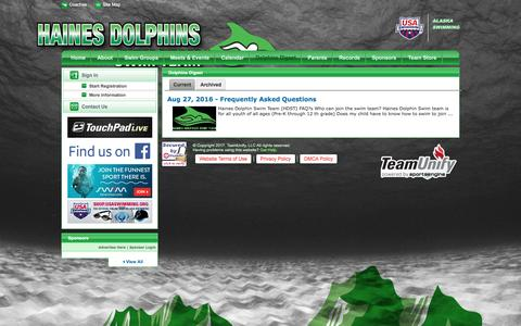 Screenshot of Press Page teamunify.com - Haines Dolphins Swim Team : Dolphins Digest - captured April 7, 2017