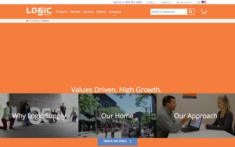 Screenshot of Jobs Page logicsupply.com - Tech Jobs in Vermont  | Logic Supply - captured July 21, 2016