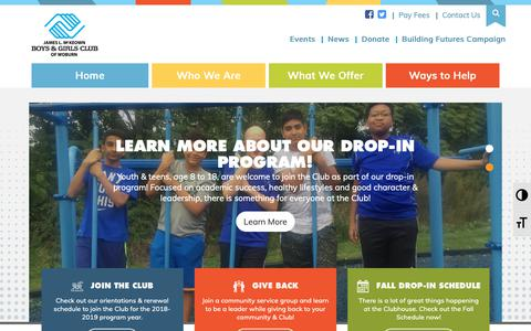 Screenshot of Home Page bgcwoburn.org - Official Website of the Boys & Girls Club of Woburn - captured Oct. 6, 2018