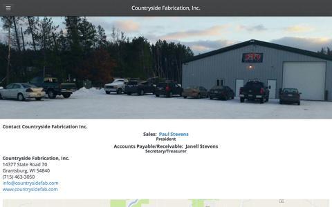 Screenshot of Contact Page countrysidefab.com - Contact Us - Countryside Fabrication, Inc. - captured Nov. 13, 2016