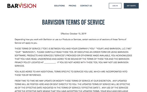 Screenshot of Terms Page barvision.com - Our Terms & Services | Liquor Control System | BarVision - captured Dec. 4, 2019