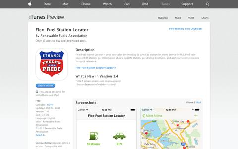Screenshot of iOS App Page apple.com - Flex-Fuel Station Locator on the App Store on iTunes - captured Oct. 23, 2014
