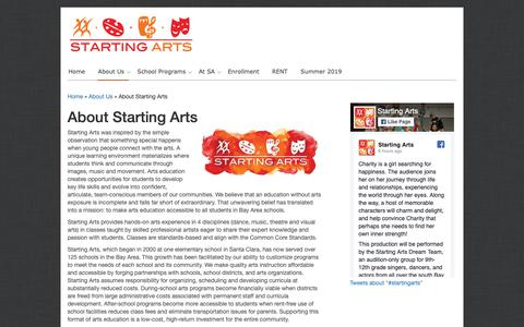 Screenshot of About Page startingarts.com - About Starting Arts | Starting Arts - captured Dec. 11, 2018
