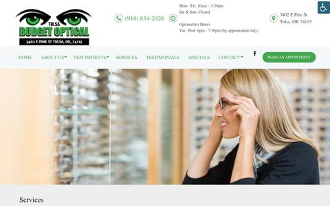 Screenshot of Services Page budgetopticaltulsa.com - Optometry Services in Tulsa, OK   Budget Optical Tulsa - captured Oct. 7, 2018
