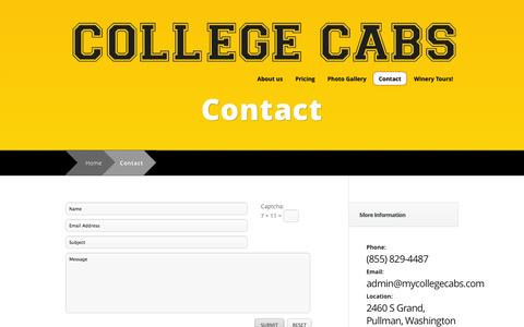 Screenshot of Contact Page mycollegecabs.com - Contact | College Cabs - captured Oct. 8, 2014