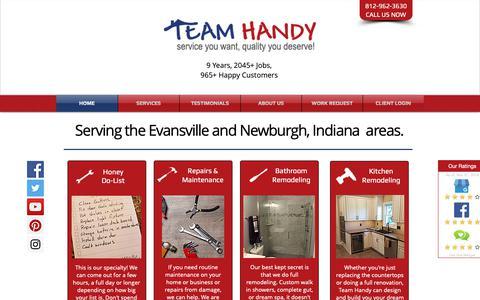 Screenshot of Home Page teamhandy.com - Team Handy | Evansville Handyman | Newburgh, Indiana Handyman - captured Nov. 7, 2018