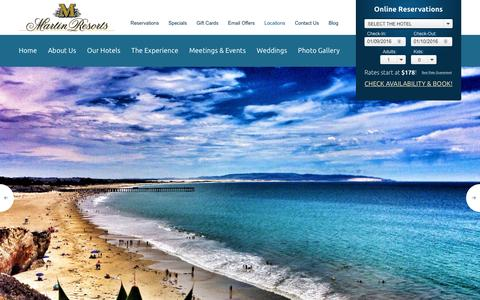 Screenshot of Locations Page martinresorts.com - California Coast Resorts | Martin Resorts - captured Jan. 9, 2016