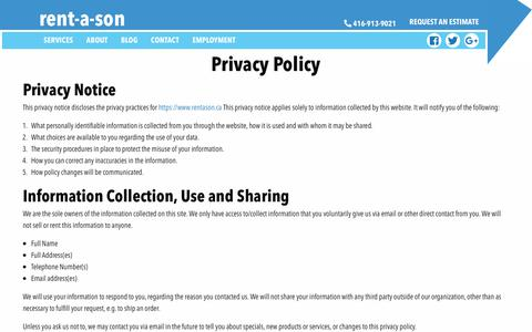 Screenshot of Privacy Page rentason.ca - Privacy Policy - - captured Oct. 20, 2018
