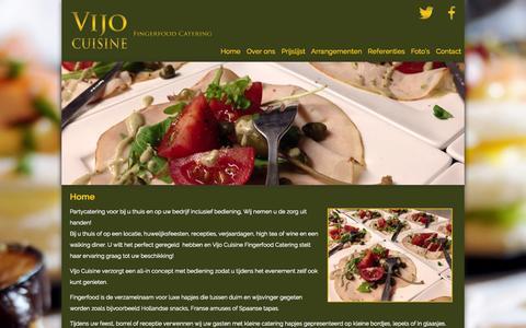 Screenshot of Home Page vijocuisine.nl - Vijo Cuisine fingerfood catering - captured Oct. 8, 2014
